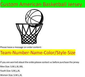 Custom American Basketball Jerseys All 32 Teams Customized Screen Printed On Any Name Number XS-XXL Mix Order Men Women Kids Youth Jersey