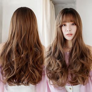 female long hair micro-volume big Wig wave fluffy natural lifelike Korean chemical fiber wig in stock
