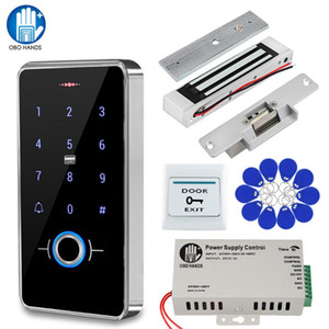 Fingerprint Door Access Control System Kit Outdoor RFID Keypad Electric Magnetic Strike Lock Switch 13.56Mhz IP68 Waterproof