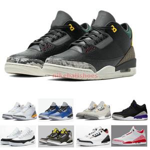 2020 Jordon 3 Pit Crew Fragment conception Laser orange Rafraîchissez gris Varsity royal des animaux Pack 2.0 Chicago Chaussures homme à vendre magasin de chaussures de basket-ball