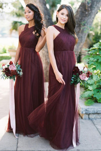 Cheap Country Style Burgundy Beach A Line Bridesmaid Dresses Backless Tulle Wedding Party Guest Dresses Backless Maid of Honor Dress