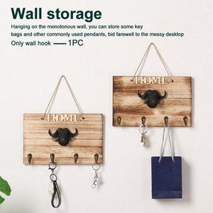 Parete Hook No Rope Trapano Ufficio Hanging Retro cucina in legno Bull Responsabile Back Door