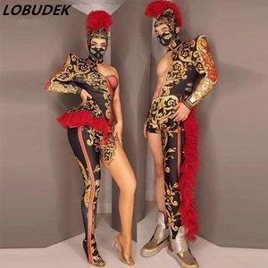 Hommes Femmes Phase de groupes Vintage Wear une épaule avec Jumpsuit Coiffe Chanteur Danseur Outfit Vêtements Performance danse équipe cosplay costume