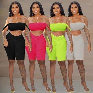 Casual Tracksuits Women Two Piece Sexy Pants Set Female Designer Fashion Suits Slim Slash Neck Soild Color