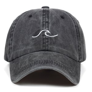 Washed wave dad hat for women cotton embroidery wavy line baseball cap men hip hop cap snapback hat sea sports Bone Garros