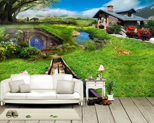 Пользовательские 3d обои пейзаж Красивый и романтичный Пастырское Декорация Гостиная Спальня Wallcovering HD обои