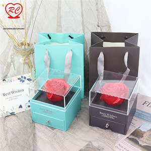 Monili del fiore Box unfade ROSA con sorpresa 100 Lingue Ti amo Girlfriend collana Strano regalo per la madre