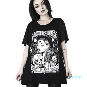 Sıcak Satış InsGoth Kadınlar Harajuku Siyah Gotik Cadı Baskılı Grunge Streetwear Kadın Gevşek tişört Moda Estetik Tişörtlü