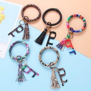 nouveau style cuir PU tournesol imprimé bracelet porte-clés porte Bracelet ouvre camo serape bande embrayage démarreur porte bracelet pompon léopard