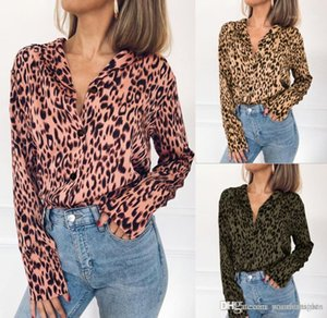 Tops Blouses Women V-neck Chiffon Blouse Spring Summer Leopard 19ss Autumn Long Sleeved Shirts