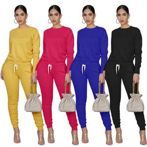 Femmes Nouveau Costume Automne style simple couleur unie manches longues lacent Pantalons Set Piece Casual européen et américain 2