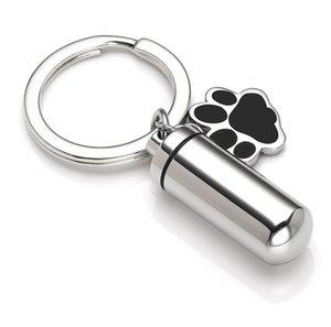 Urn anahtarlık Pet Cremation Takı Charm Köpek Paw Silindir Memorial Urn kolye İçin külleri Keepsaker Takı yazdır