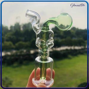 Großhandel Mini-Dab Bohrinseln Glasbongs Wax Oil Rig Schädel-Form Percolator Thick Pyrex Ölbrenner Wasserrohre für das Rauchen Set