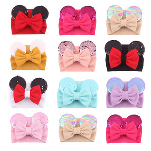 Big bow wide haidband cute baby girls hair accessories sequined mouse ear girl headband 16 colors new design holidays makeup costume band
