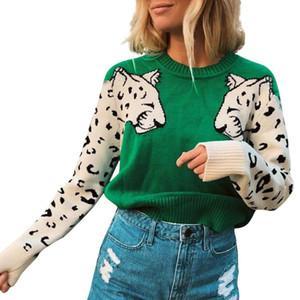 Бесплатно страуса Fall 2020 свитер Женщины печати животных пуловер Топ женский Повседневная мода Лоскутная с длинным рукавом Женские топы