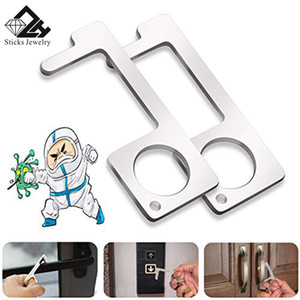 Non-contact Safety Door Opener Contactless EDC Door Opener Safety Protection Isolation Brass Color Key Door Handles Clean-Key