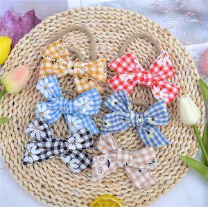Baby Girls Designers Hairpin Plaid Daisy Tournesol Bandeaux Head Band du nouveau-né Big Band Hair Bows Headwrap Accessoires cheveux Hot D9309