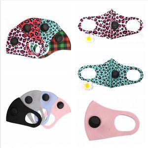 2styles Leopard Soild Color PM2.5 Face Masks With Breathing Valve Washable Dustproof Adjustable Breathable Cotton Mouth Cover LJJP251
