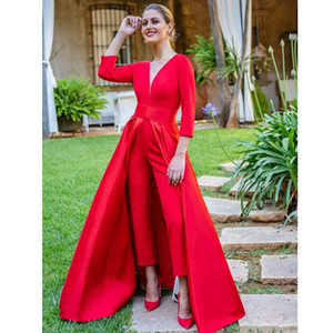 Dubai Red Jumpsuits Formal Evening Dresses With Detachable Skirt V Neck Long Sleeves Backless Prom Dresses Party Wear for Women
