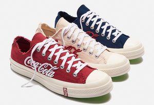 KITH 1970 Cola Partido Tres Consorcio Alta lona superior zapatillas de deporte 1970 de KITH Cola Zapatos de Cristal de formación de goma