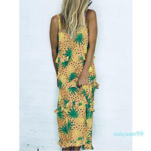 Sıcak Satış Kontrast Renk Giysiler Ananas Patchwork Kaşkorse Mini Modelleri Kadın Desinger fırfır Kısa Kolsuz Casual A Hattı Elbiseler Fema