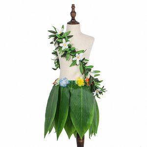 Materiali Adeeing hawaiana Simula Foglie Tropicali Gonna Corona Green Garland Danza puntelli decorazioni Beach Party H0zL #