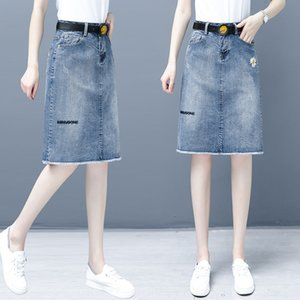 62180 Daisy gonna di jeans di uno stadio per le donne di media lunghezza 2020 nuova vita alta linea di dimagrimento A- hip diviso one-step skirt