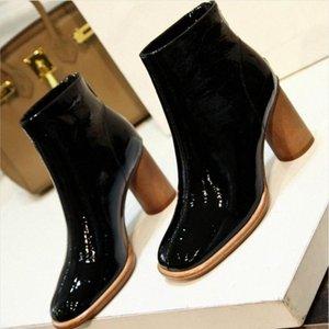 2019 Europea Yeni Gladyatör Kısa Çizme Bayan Patik Kadın Bilek Boots Kare Ayak parmakları Geri Kalın Topuk Siyah Bej ttGR # Posta