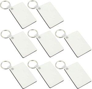 MDF Blank Schlüsselanhänger Rechteck Sublimation Holz Tags für Hitze-Presse-Transfer Photo Logo Doppelseitige Thermodruck-Geschenk DHE630
