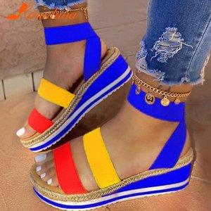 Karinluna 2020 Tamaño Grande 43 Plataforma paja cuñas cómodas talones Zapatos de verano de las sandalias de las mujeres Y200620