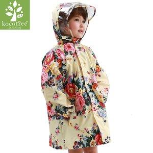 Kocotree reizende große Blumen-Kinder-Regenmantel-Mädchen wasserdichte Poncho-Mantel-Kind-Regenkleidung Baby-Band Regen Jacke