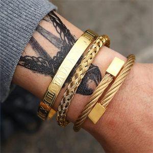 3pcs Set Roman Numeral Men Bracelet Handmade Stainless Steel Hemp Rope Buckle Open Bangles Pulseira Bileklik Luxury Jewelry a1274