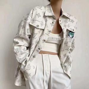 Blusa de Europa 2020 otoño nueva chaqueta de mezclilla logotipo popular de la moda de la impresión floja mujer chaqueta de mezclilla