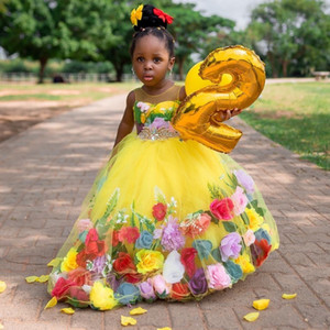 Yellow Ball Gown Beaded Flower Girl Dresses For Wedding Sheer Jewel Neck 3D Appliqued Pageant Gowns Tulle First Communion Dress