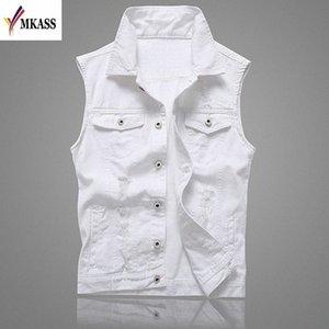 MKASS Vintage Design Veste Denim Homme Homme Couleur Blanc Slim Fit manches Vestes Homme trou Brand Jeans Taille Plus Waistcoat 5XL FFzr #
