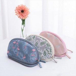 MoneRffi 2019 Portable Flamingo Cosmetic Bag Double Layer Travel Makeup Pouch Bags Circular Woman Make Up Bag Brush Organizer