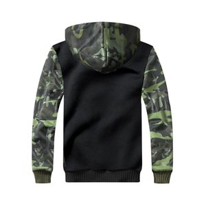 Cross-Border Mens New capuz Camouflage Color Matching Brasão Thicken Modelo Sweater Factory Outlet