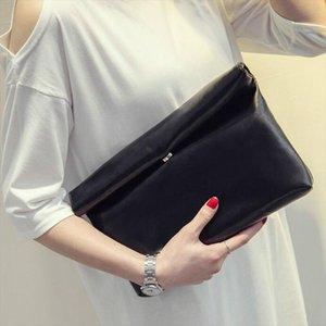 New Fashion 2020 Women PU Leather Briefcase Handbag Envelope Large Clutch Purse Bag Travel Designer Solid Black Blue Red