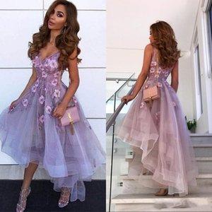 2020 Kurz Lavendel Ballkleider mit V-Ausschnitt Spitze 3D-Applikationen Ärmel High Low-Längen-Abend-Kleid-Cocktailparty-Kleid