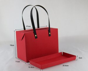 21*11*15CM Red Kraft Blank Paper Bag with handle,Gift Box Packaging Wrapping Wedding Party Favor Supplies 100pcs\lot