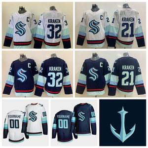 2021 Seattle Kraken Hockey sur glace Jersey Hommes 32 Kraken 21 Kraken New Jersey équipe bleu blanc blanc pas cher Hockey Maillots personnalisé Cousu