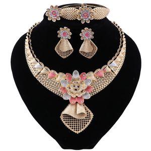 Fashion Women Jewelry Set Dubai Bridal Wedding Necklace Earrings Ring Bracelet Jewelry Women Nigeria Jewelry Sets