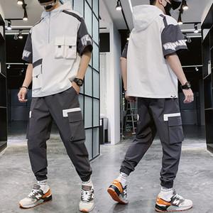 Men Set Summer Hip Hop Hooded Letter Printed T Shrits + Pant Men Sweat Suit Two Piece Suit Men Clothing 2020 T200821