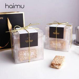 5pcs transparente PET Box Praça Embalagem Birthday Party Box Biscuits Baking Nougat Favor Boxes Decoração Embalagem Sobremesas