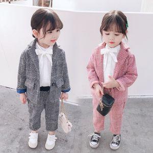 Newest INS Kids Girls Plaid Blazers Suits Cotton Front Buttons Fashions Designer Children Clothing Suits Stylish Child Clothes Sets