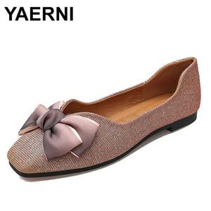 zapatos YAERNI individuales tela de lentejuelas arco femenino de la boca baja un pedal 2020 otoño zapatos planos cuadrados