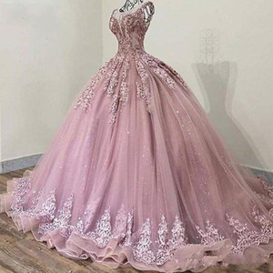 Glitter Sequins Tulle Cinderella Prom Quinceanera Dresses Ball Gown 2020 Blush Pink Applique Crystal Beaded Draped Vestidos De Party Sweet