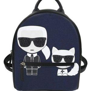 Yeni-Forudesigns Siyah Pu Sırt Çantası Kadın Karl Lagerfelds Kız Kadın Okul gizli sakli konusmalar Sırt çantası Su geçirmez J190610 için Küçük Omuz Çantaları yazdır