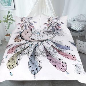 Bedding Set Bed Sheet Duvet Cover Pillow 3pcs Queen Size Bedding Set 3d Digital Printing Purple Feather Dreamcatcher
