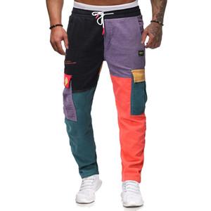 Hommes Corduroy contraste couleur Pantalon patchwork assortis Pantalons coréenne multi Pocket Stitching Pantalon droit Casual Male